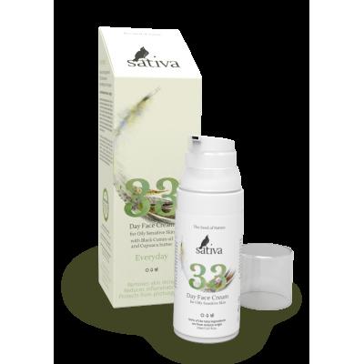 SATIVA Крем для лица дневной для жирного чувствительного типа кожи №33, 50 мл