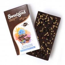 Шоколад горький на виноградном сахаре с проростками белого льна и черникой
