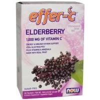 Now Foods Effer-C шипучий растворимый напиток, бузина, 30 пакетиков по 5,5 г