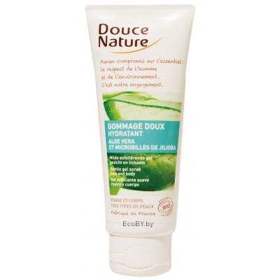 Douce Nature Биоорганический скраб увлажняющий для лица и тела с алоэ вера, 60 мл