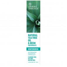 Desert Essence Натуральная зубная паста с маслом чайного дерева и нимом, Wintergreen, 6.25 унций (176 г)