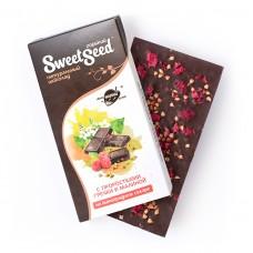 Шоколад горький на виноградном сахаре с проростками гречки и малиной